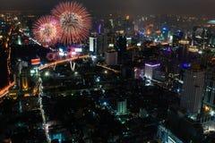 曼谷晚上视图  库存照片