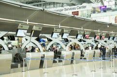 曼谷机场登记处柜台 图库摄影