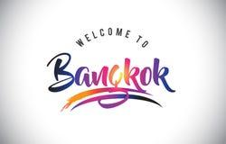 曼谷欢迎到在紫色充满活力的现代颜色的消息 向量例证