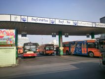 """曼谷泰国 †""""`曼谷,泰国50个区khet的Minburi `一  它由其他曼谷公共汽车总站一定 库存图片"""