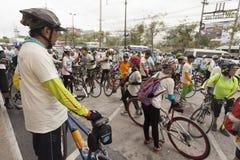曼谷泰国9月15日:在冰乘驾的未认出的peaple 免版税库存照片