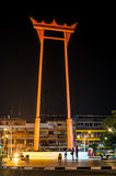 曼谷泰国2015年10月18日:大回环在晚上 免版税图库摄影