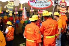 曼谷泰国- 2016年1月9日:消防队员在泰国全国儿童的天 库存图片
