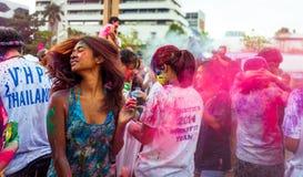 曼谷泰国2016年3月27日:Holi节日,在曼谷法政大学的Holi Rangotsav, 2016年3月27日在曼谷,泰国 库存照片