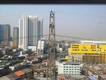 曼谷泰国The天气isnot明亮的毒性烟今天上午 免版税图库摄影