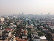 曼谷泰国The天气isnot明亮的毒性烟今天上午 库存照片