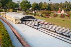 曼谷火车站在微型泰国公园 库存图片