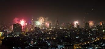 曼谷烟花 免版税库存图片