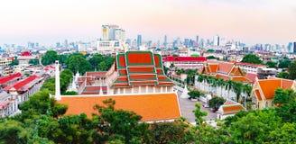 曼谷看法从金黄山,泰国的 免版税图库摄影