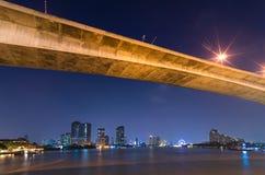曼谷都市风景。曼谷在暮色时间的河视图。 免版税库存图片