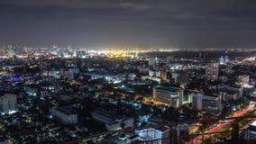 曼谷都市风景在晚上 免版税图库摄影