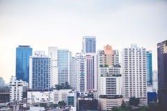 曼谷都市风景视图,企业大厦视图 免版税库存照片