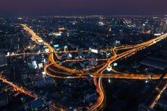 曼谷都市风景,夜城市 库存照片