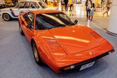 曼谷,泰国, - 2018年3月11日:葡萄酒汽车法拉利308 GTB :1975-1985在Seacon广场的一个经典汽车展示会显示了 库存照片