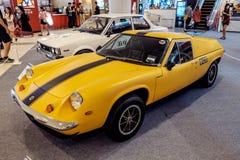 曼谷,泰国, - 2018年3月11日:葡萄酒汽车莲花欧罗巴Twincam专辑:1966-1975在S的一个经典汽车展示会显示了 库存图片