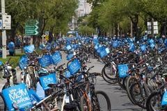 """曼谷,泰国, 8月16-2015 :Mom†历史的事件集合的""""Bike能开始做世界纪录 库存图片"""
