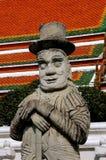 曼谷,泰国:Wat Pho马可・波罗雕象 免版税库存照片