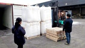 曼谷,泰国16 2017年9月:工作者在等待的板台上把超大袋子放被装载入容器在LCB容器围场 库存图片