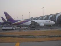 曼谷,泰国2017年3月-12 -从泰航的飞机 库存图片