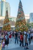 曼谷,泰国- 2017年12月24日:中央世界是参观的其中一个著名地方在曼谷在圣诞节前 图库摄影