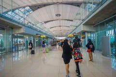 曼谷,泰国- 2018年2月01日:内部看法在廊曼国际机场的到来霍尔,终端2是 库存图片
