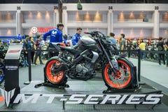 曼谷,泰国- 2018年11月30日:在泰国国际马达商展2018马达商展的雅马哈摩托车2018年11月30日, 库存图片