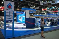 曼谷,泰国- 2018年11月30日:在泰国国际马达商展2018马达商展的PTT蓝色气体能量领导2018年  免版税图库摄影