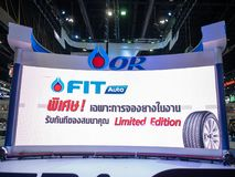 曼谷,泰国- 2018年11月30日:在泰国国际马达商展2018马达商展的PTT蓝色气体能量领导2018年  免版税库存照片