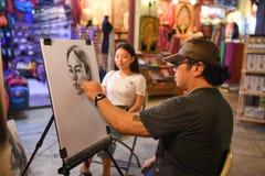 曼谷,泰国- 2016年11月14日:未认出的艺术家drawi 免版税库存图片