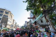 曼谷,泰国- 2018年4月13日:著名Songkran节日在 免版税图库摄影