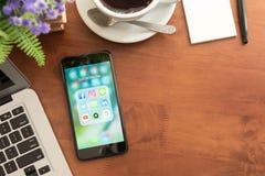 曼谷,泰国2016年12月04日:Iphone 7正乌黑se 库存图片