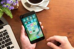 曼谷,泰国2016年12月04日:Iphone 7正乌黑se 免版税库存照片