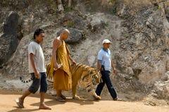 曼谷,泰国- 2014年2月:有老虎寺庙的人们 库存照片