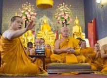 曼谷,泰国- 7月:整理cerem的曼谷修士 免版税图库摄影