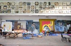 曼谷,泰国- 2016年10月24日:泰国艺术家油漆画象o 图库摄影