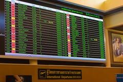 曼谷,泰国- 2016年11月28日:航行时刻表用英语在曼谷机场 国际航班 免版税库存图片