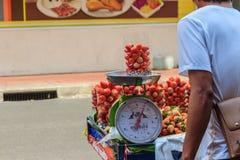 曼谷,泰国- 2017年3月2日:sa的新鲜的红色草莓 库存图片