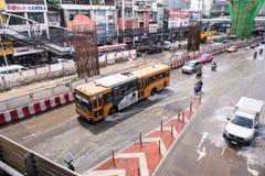 曼谷,泰国- 10月14,2017 :泰国洪水看法在Phaholyothin路的 图库摄影
