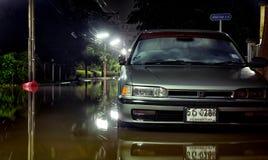 曼谷,泰国- 10月15 :洪水水平上升作为c 免版税图库摄影