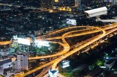 曼谷,泰国- 7月13 :监测traf的安全监控相机 库存照片