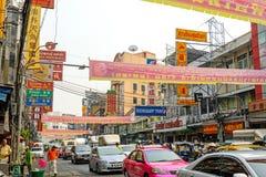 曼谷,泰国- 2月1 :街道场面在唐人街, Bangko 免版税库存图片