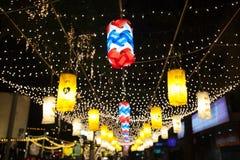 曼谷,泰国- 12月27,2015 :fastival五颜六色的灯 库存图片
