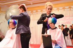 曼谷,泰国- 12月14 :Nira发型competiton  库存照片
