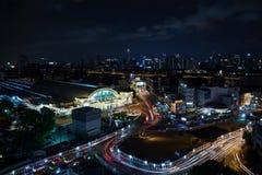 曼谷-5月24日:华Lamphong驻地,火车铁路主要插孔c 免版税图库摄影