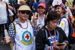曼谷- 2014年1月13日:反对ral的政府的抗议者 免版税库存照片