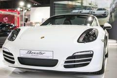 曼谷- 3月27 :在第35个曼谷国际汽车展示会的所有新的白色保时捷GT3,在驱动的概念秀丽3月 免版税库存照片