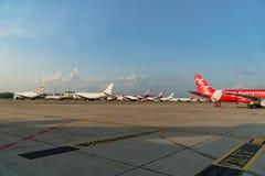 曼谷- 5月17 :班机在停车处停放在唐Mueang 库存图片