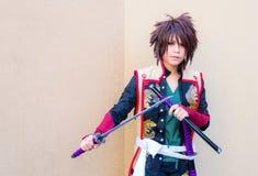 一个未认出的日本芳香树脂cosplay姿势。 图库摄影
