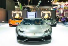 曼谷- 4月3 :2015年在阶段展示的Lamborghini超级汽车 图库摄影