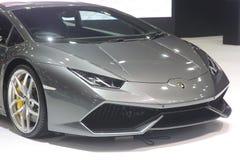 曼谷- 3月31 :Lamborghini huracan在灰色汽车在2016年3月26日的第37个曼谷国际泰国汽车展示会2016年 免版税库存图片